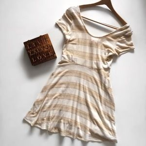 Romeo & Juliet Couture Cream & Gold Striped Dress